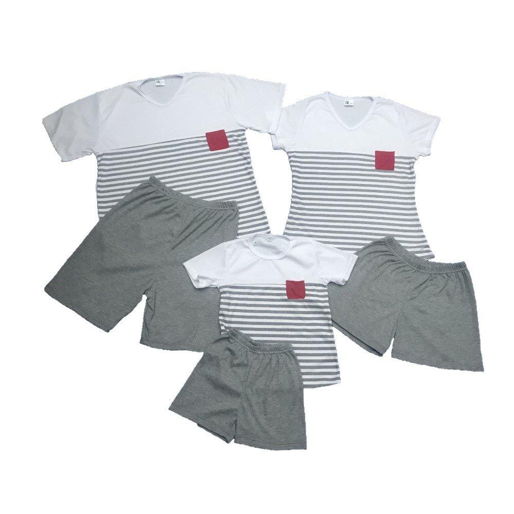 Pijama familiar de short en algodón gris