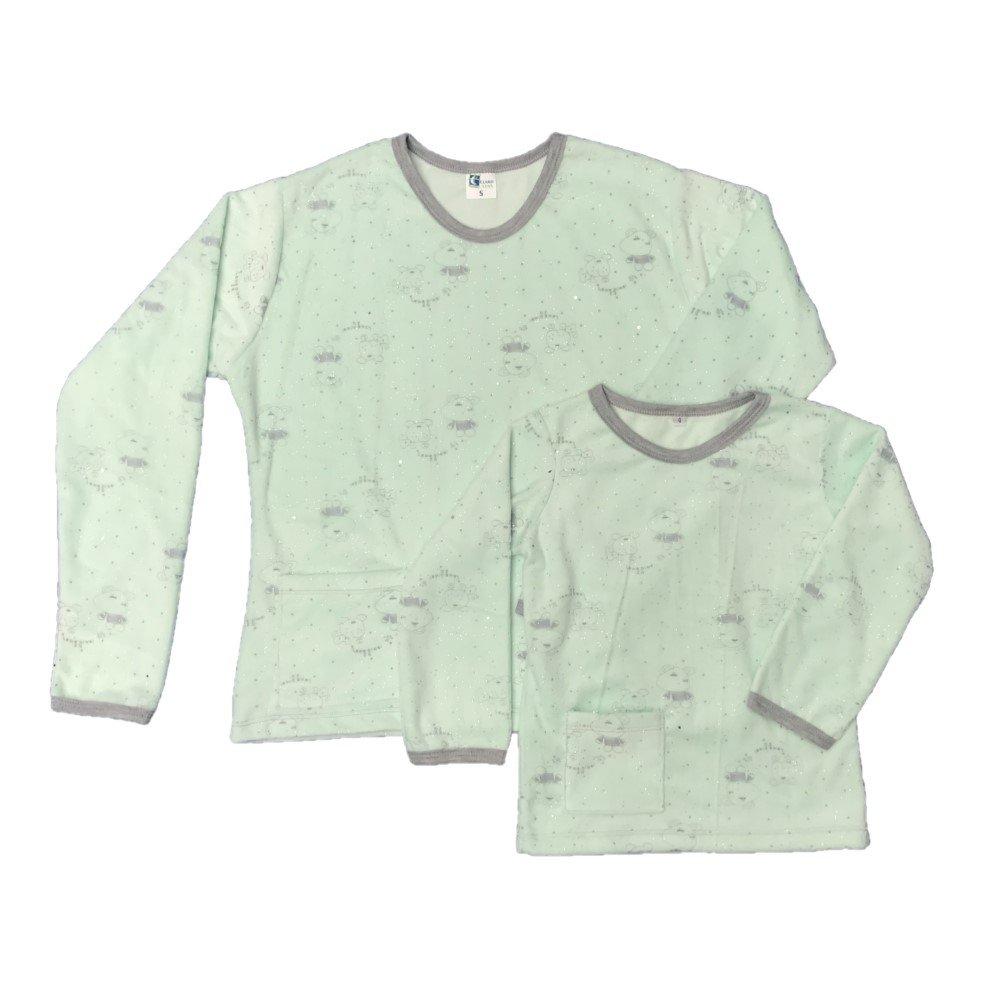 Pijama familiar térmica verde menta