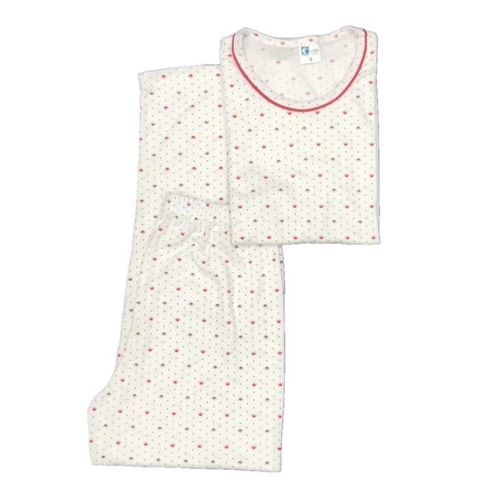Pijama para dama coronas rojas