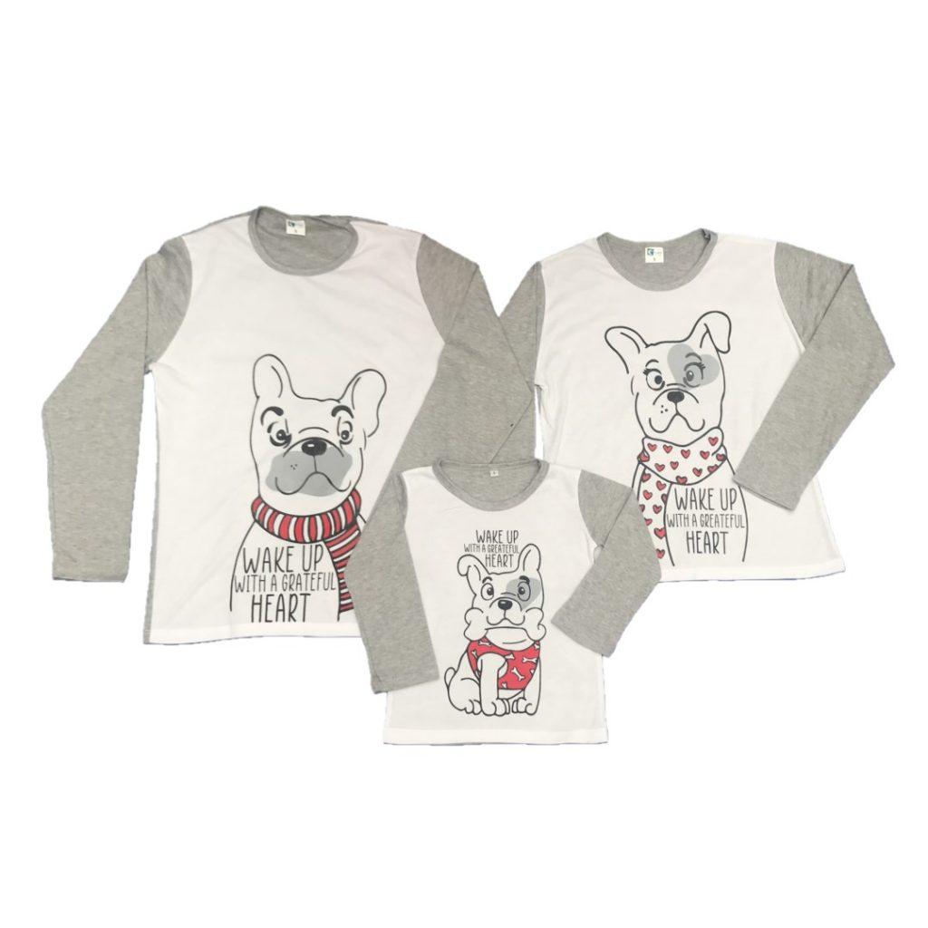 Pijama familiar perros - mamá, papá e hijo