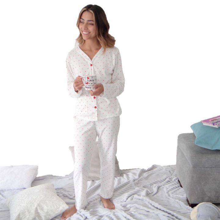 Pijama dama coronas manga larga