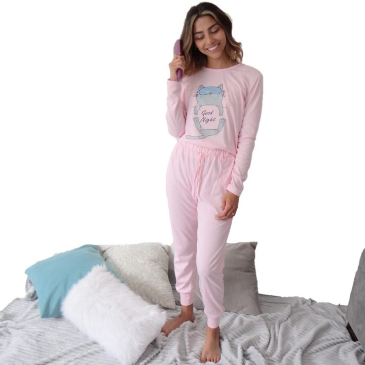 Pijama dama gato rosada